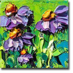 ORIGINAL Oil Painting Daisy Art Palette knife Impasto by bsasik, $40.00