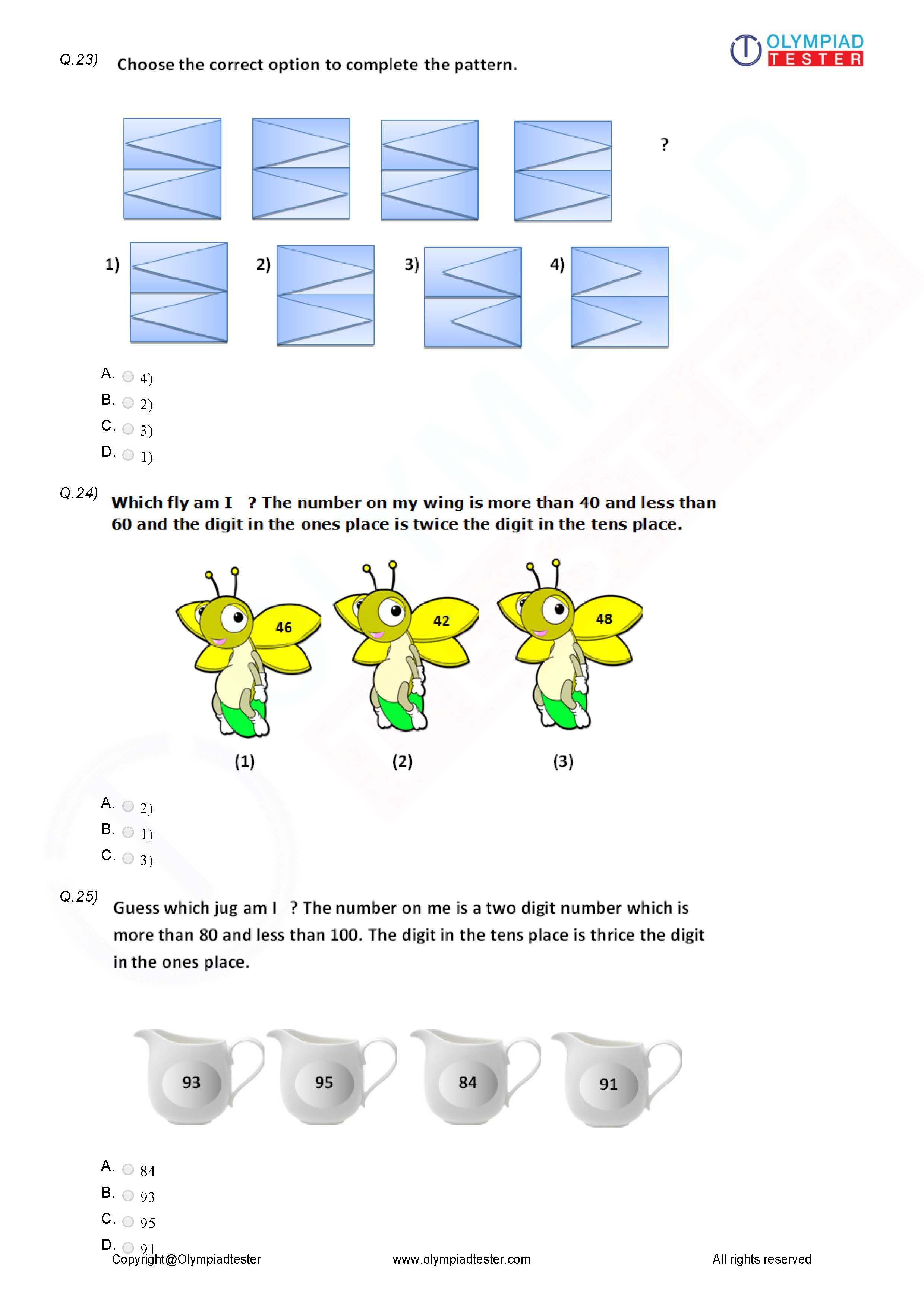 Class 3 Logical Reasoning Worksheet 12