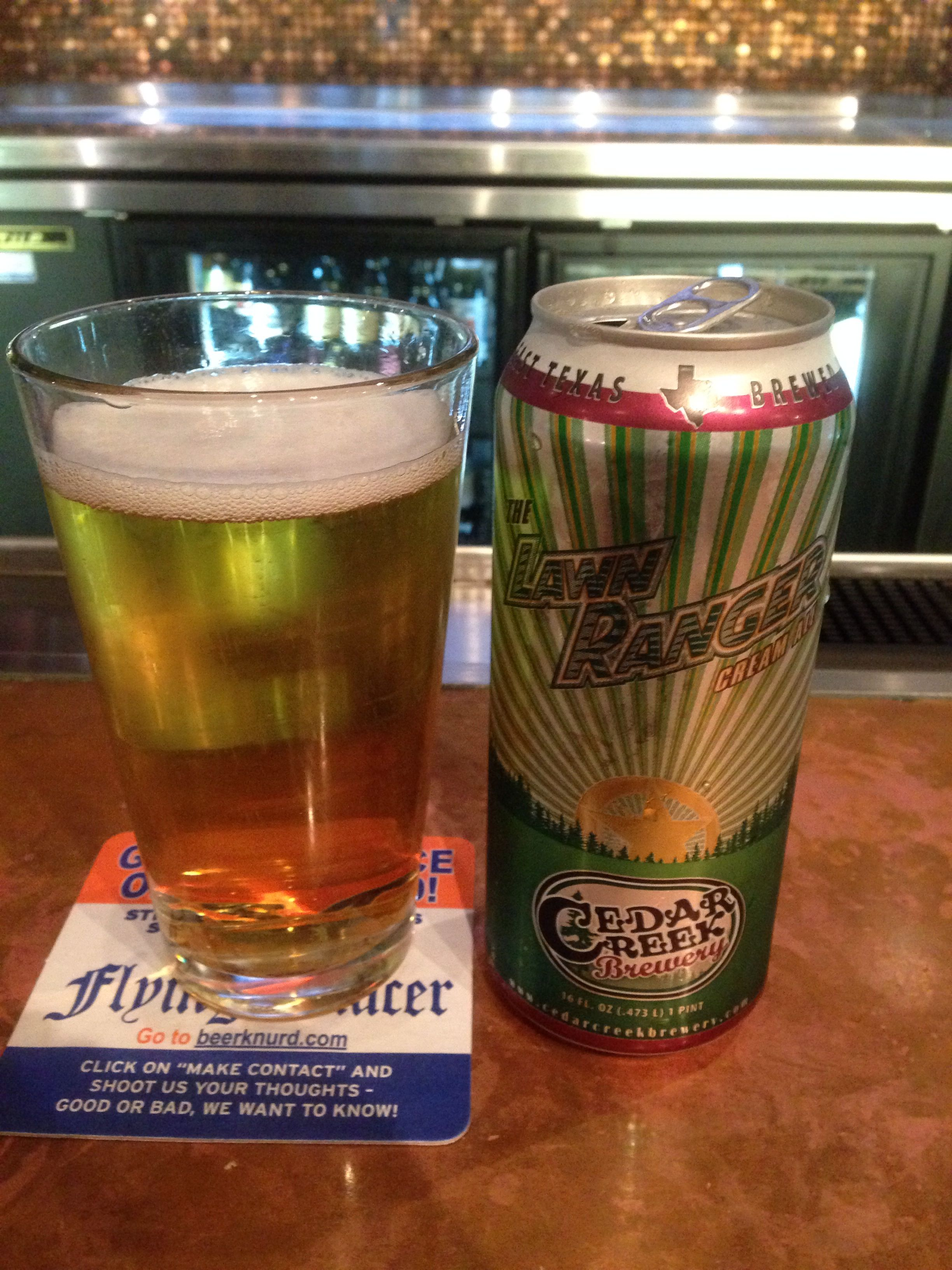 The Lawn Ranger cream ale by Cedar Creek Brewery in Seven Points, TX.  About 5 %abv.