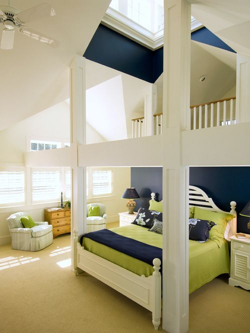 Beach Style Bedroom Idea In Boston With Blue Walls And Carpet...