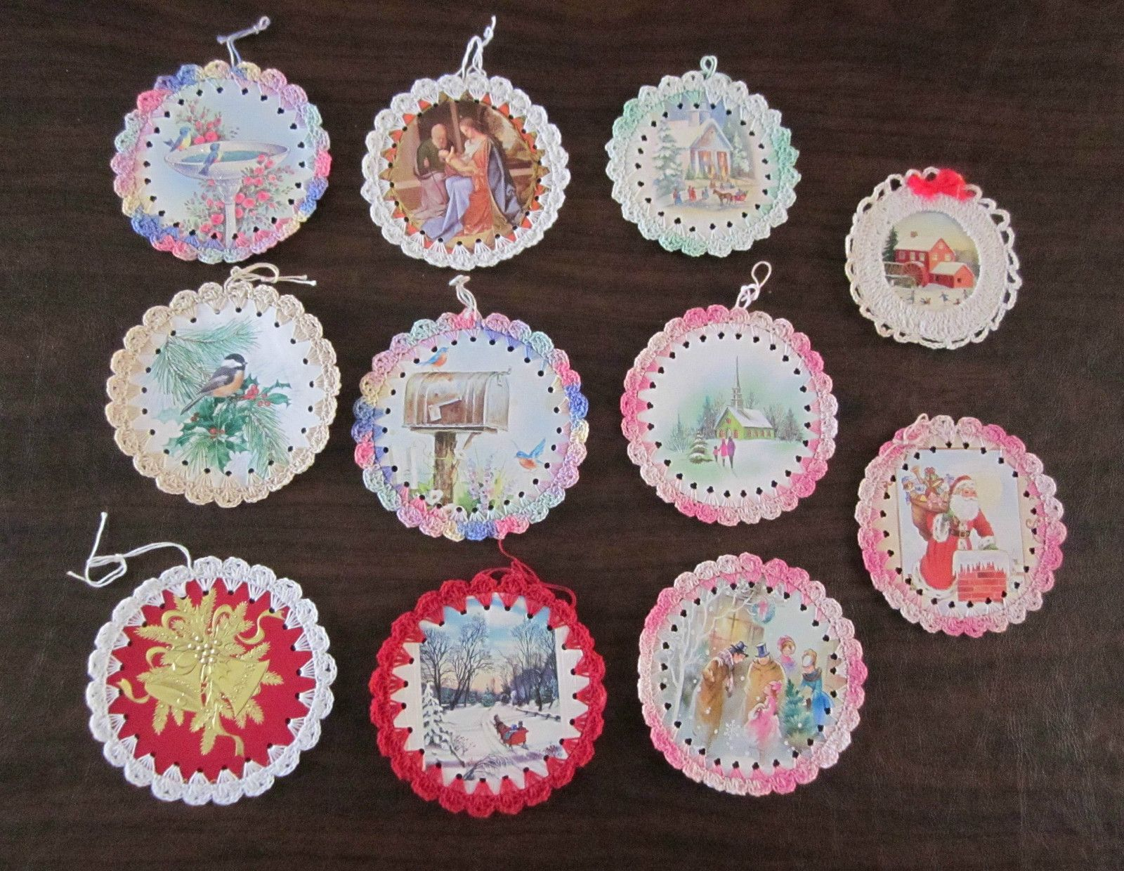 Lot of Handmade Christmas Ornaments Cards with Crochet Edge | eBay
