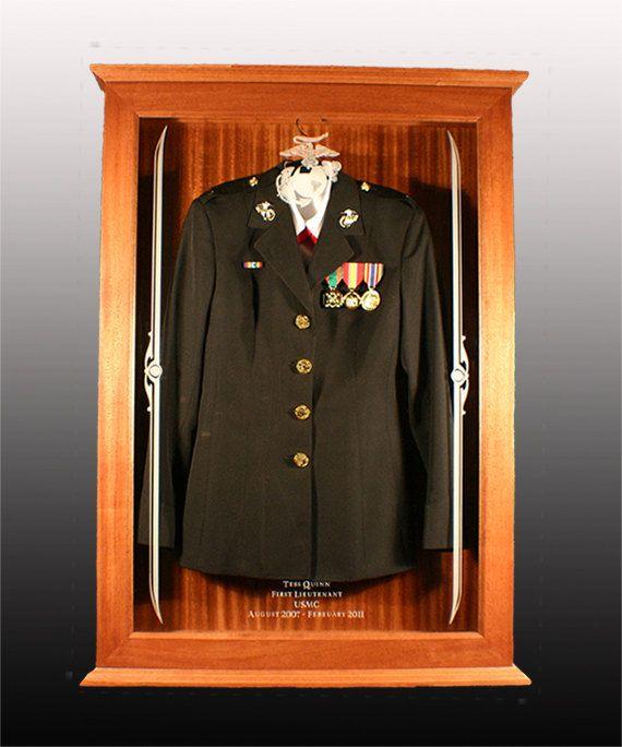 Military Uniform Display Case by Shamrockfinewoodwork on Etsy ...