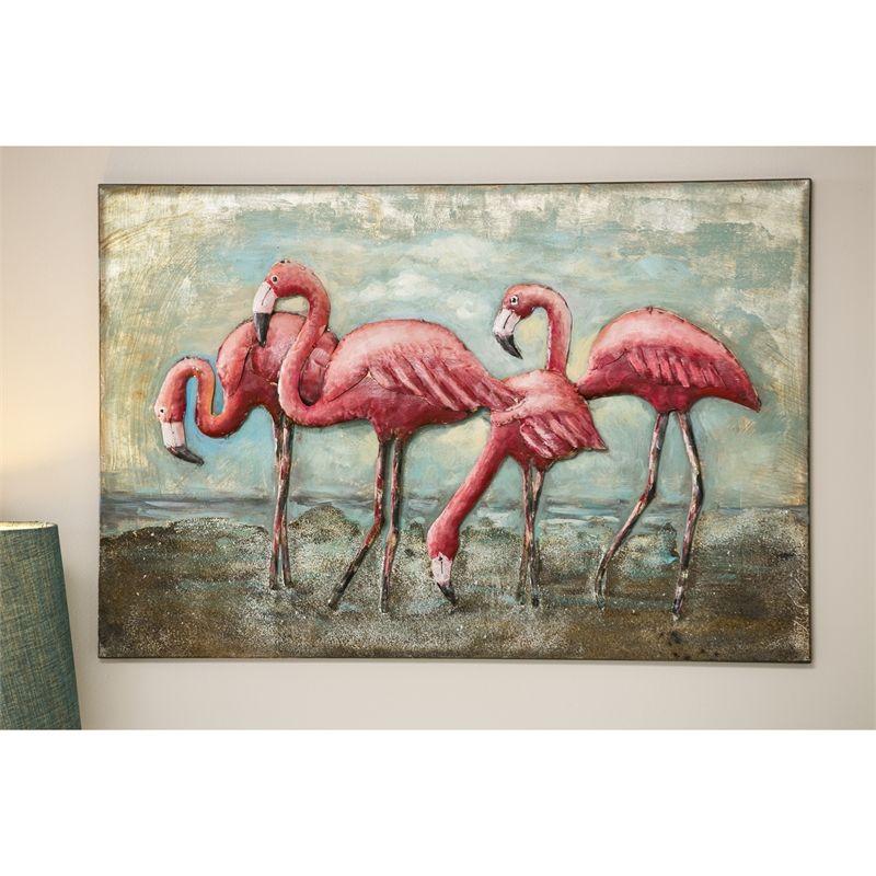 3D flamingo wall art. Made of metal. #beachhousedecor #flamingo