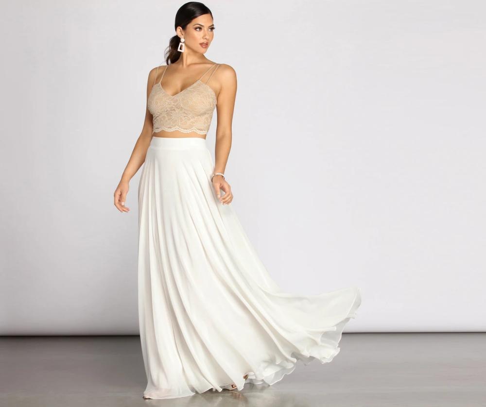 Magnolia Two Piece Scallop Lace Glitter A Line Dress In 2021 A Line Dress Dresses Scalloped Lace [ 838 x 1000 Pixel ]