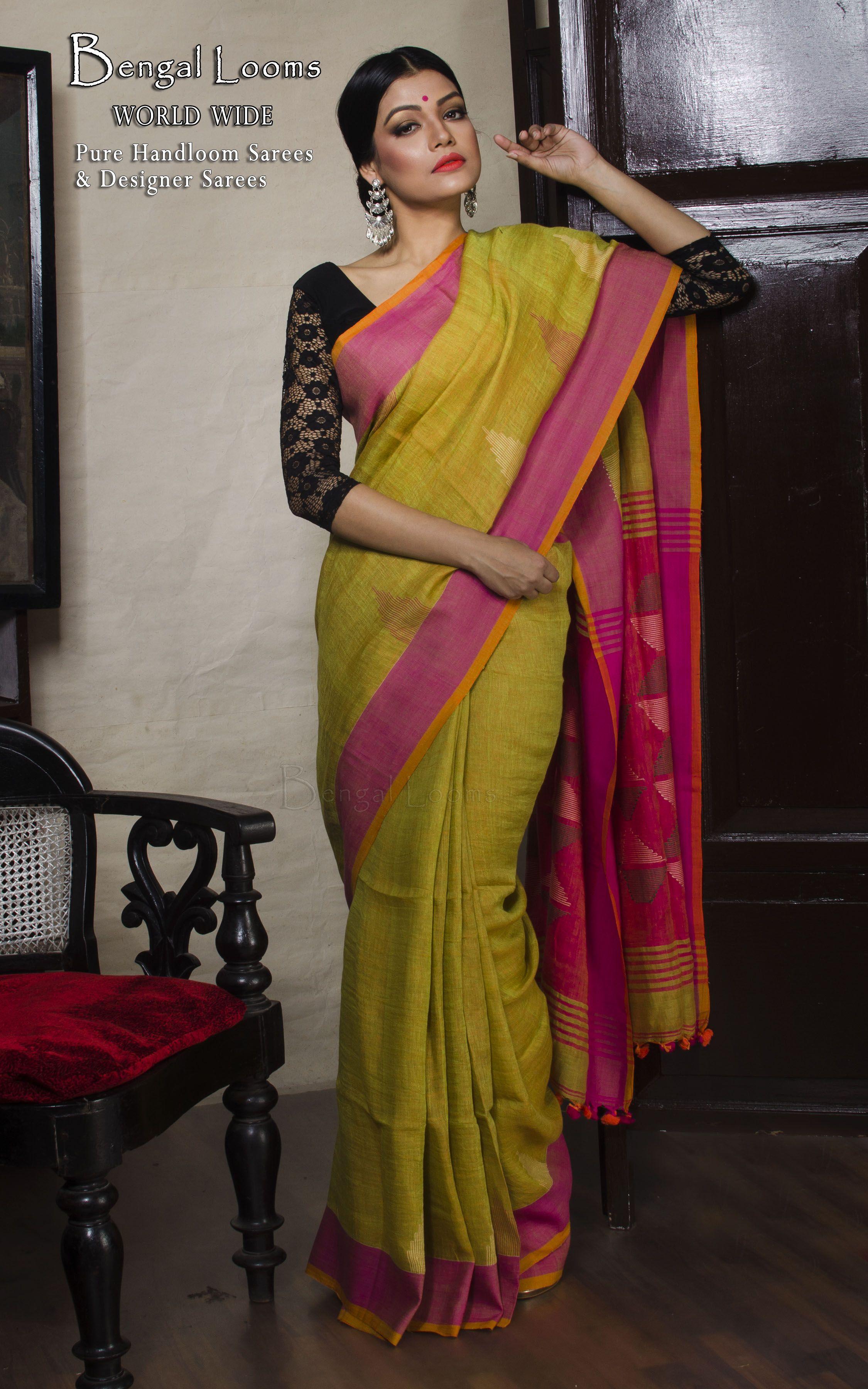 13379461b Linen Jamdani Saree in Green and Hot Pink | Linen Sarees | Jamdani ...