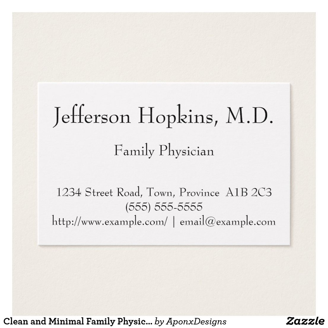 Clean and Minimal Family Physician Business Card | Customizable ...