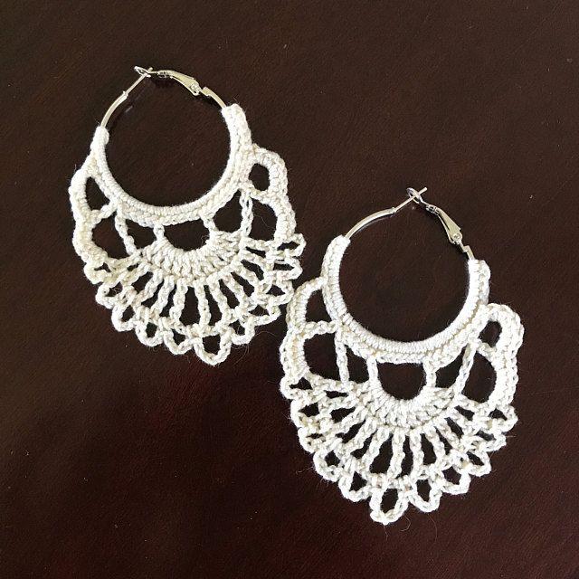 91. ONE Crochet Earrings Pattern, Earring pattern, Crochet Wedding Earrings, Wedding Hoop Earrings Pattern, easy pattern for beginners