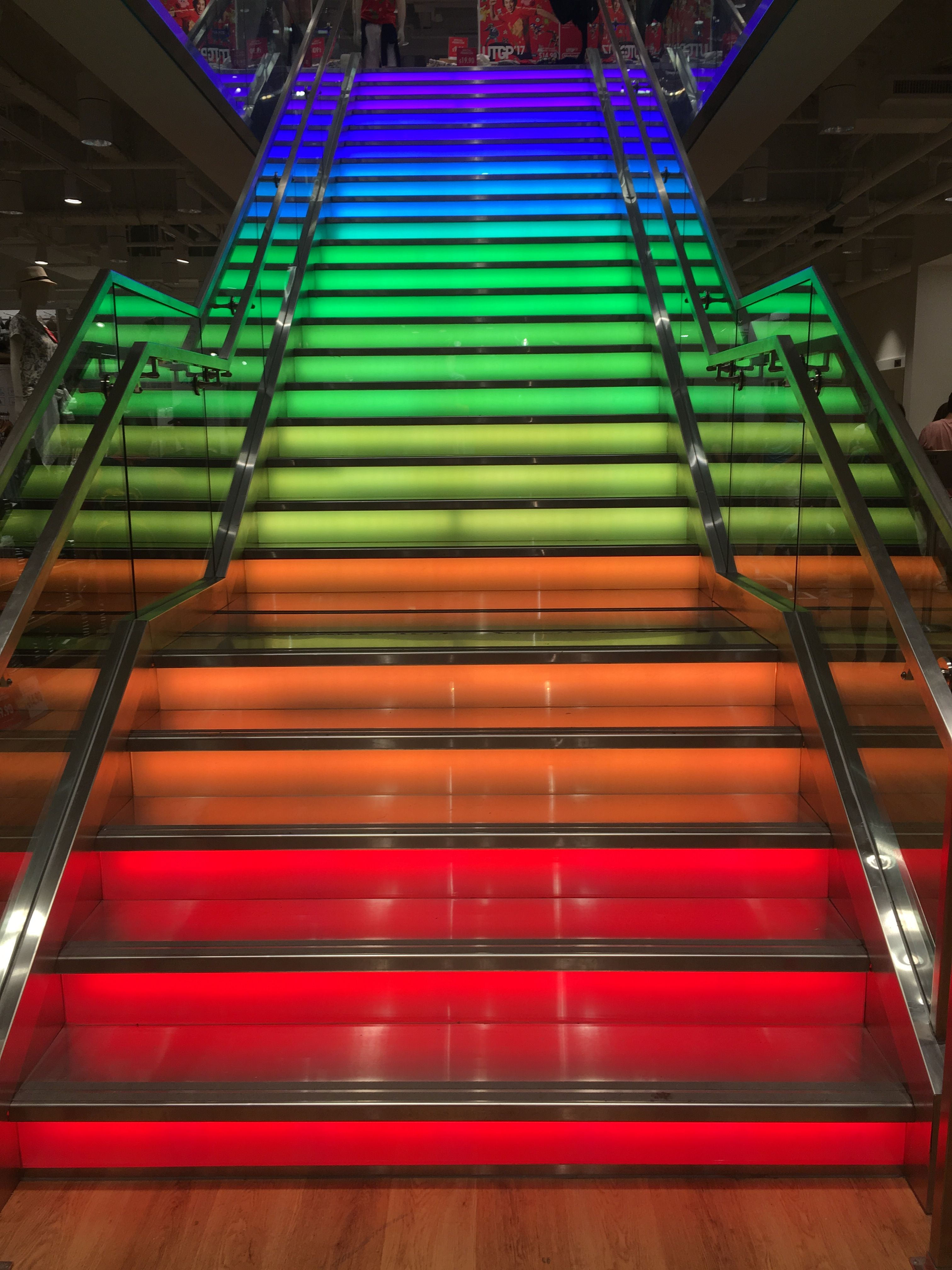 Lighting Basement Washroom Stairs: Uniqlo's Unique Rainbow Staircase Located At Newbury