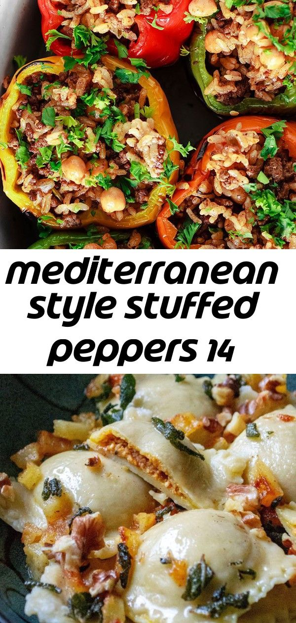 Mediterranean style stuffed peppers 14 Wow These Mediterranean Stuffed Peppers are the best The rice stuffing with perfectly spiced meat chickpeas and fresh herbs is amaz...
