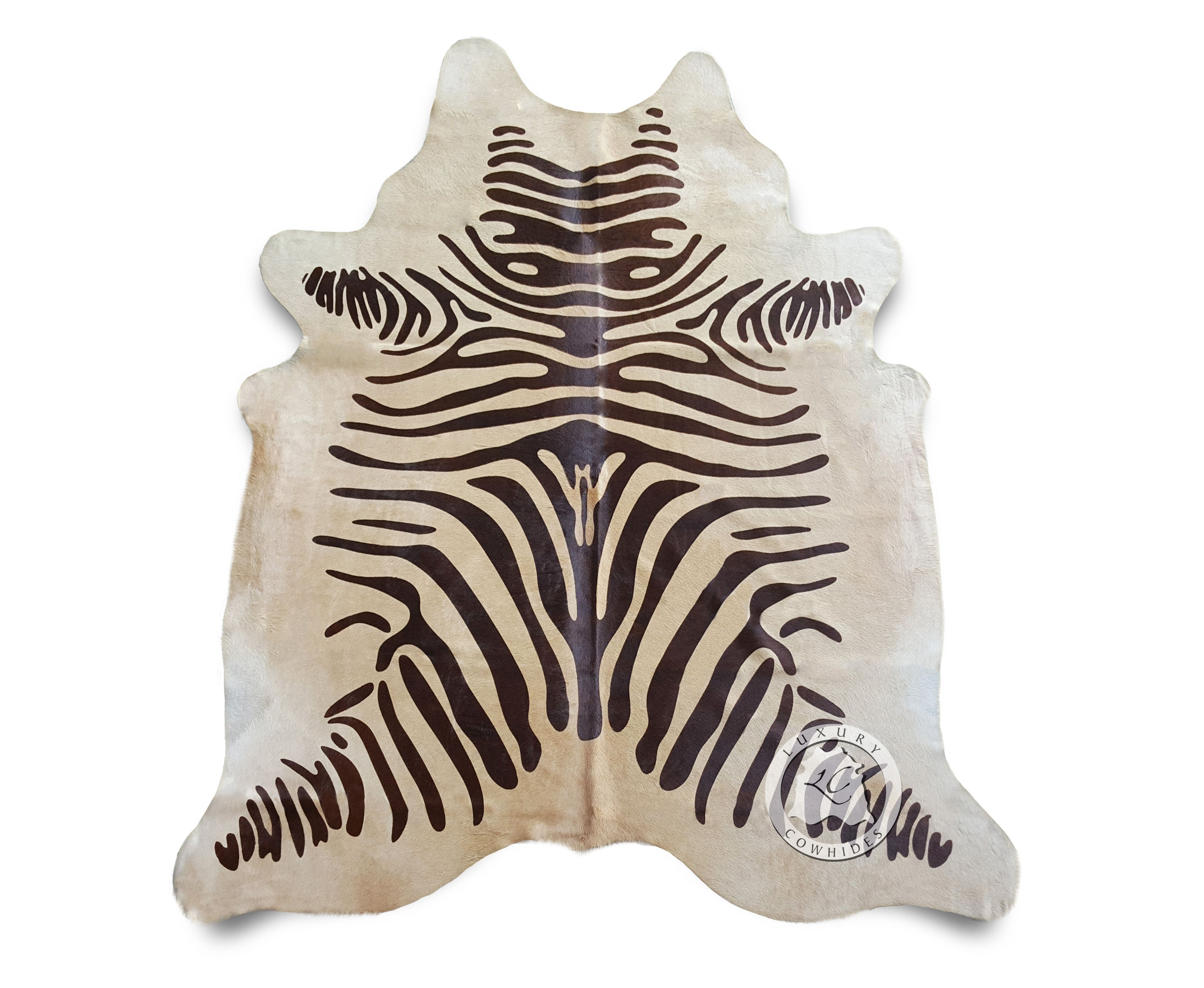 Zebra brown stripes on beige cowhide rug zebra cowhide - Alfombras de cebra ...