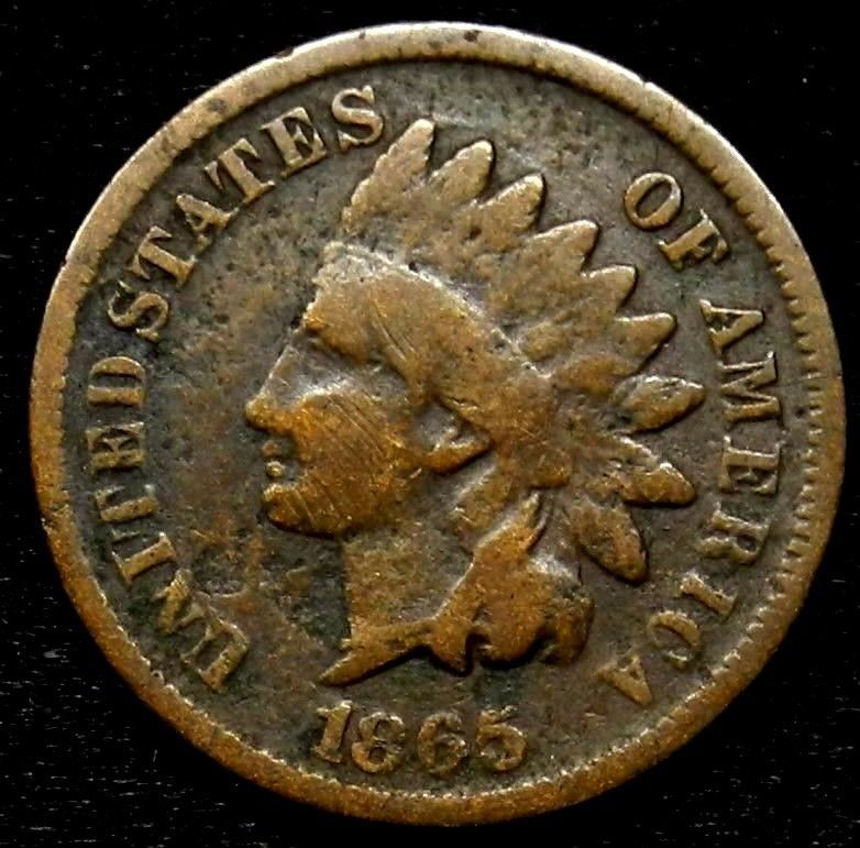 1865 Indian Head One Cent Penny Key Date Better Grade 1c Free Shipping Key Dates Indian Head Penny