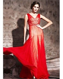 In Stock Red V Neckline Evening Dress With Rhinestones