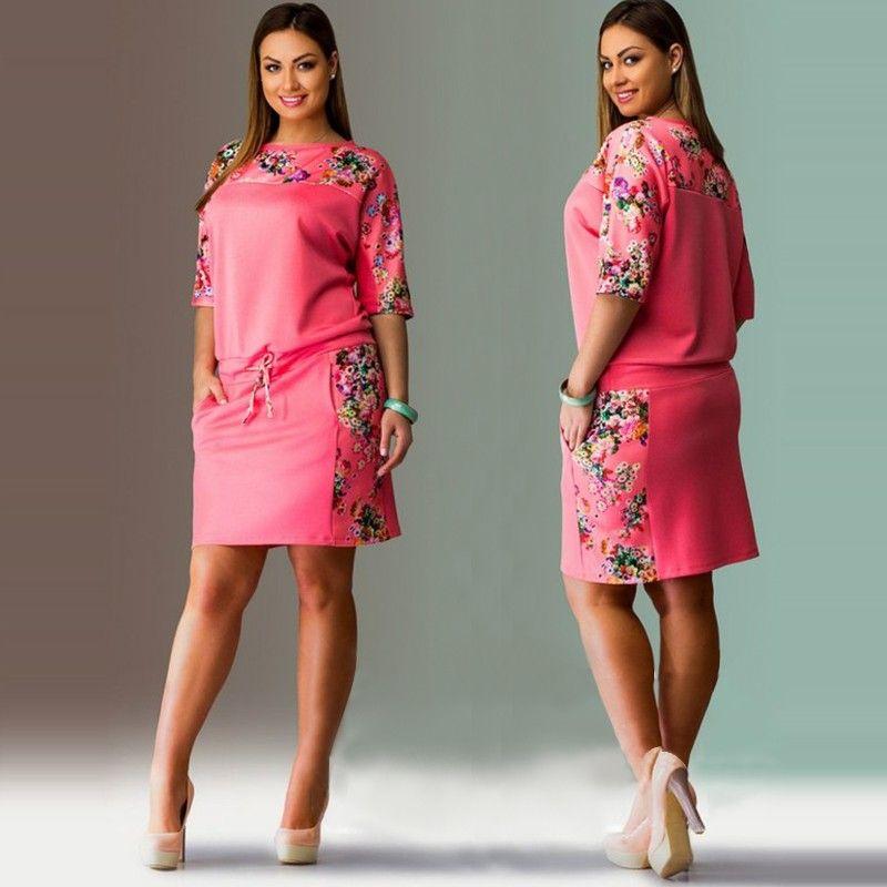2016 fashionable elegant printed floral mini dress new plus size