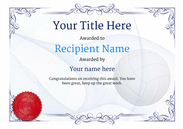 Free Volleyball Certificate Templates Add Printable Badges Within New Volleyball In 2021 Certificate Templates Gift Certificate Template Awards Certificates Template