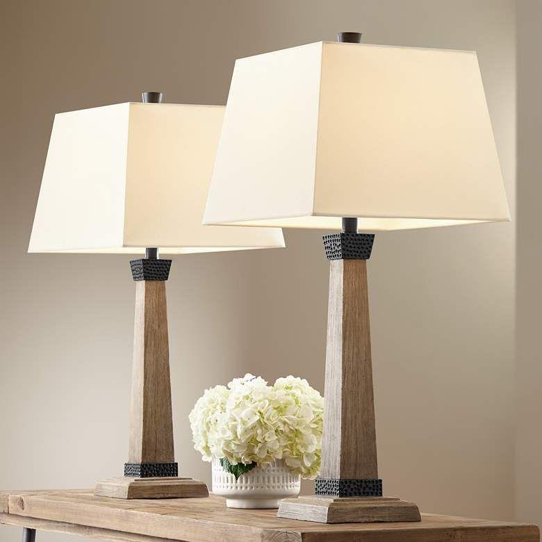 Buchan Wood Pedestal Table Lamps Set Of 2 78p93 Lamps Plus Farmhouse Table Lamps Modern Farmhouse Table Table Lamp Sets