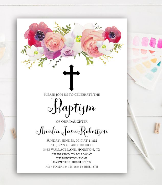 Editable Baptism Invitation Watercolor Flowers PDF Instant Download Printable