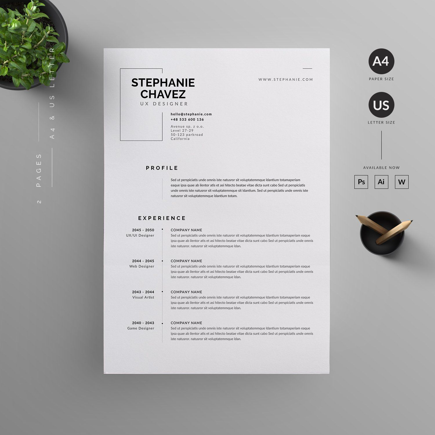 resume  cv by reuix studio on  creativemarket