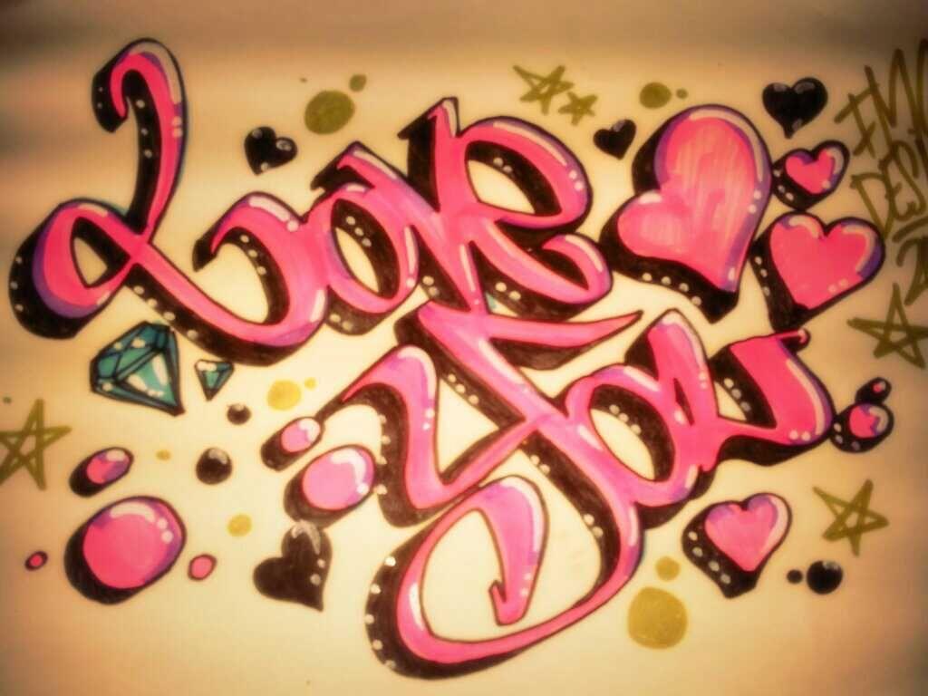 Contoh Foto Gambar Wallpaper Grafiti Tulisan I Love You Love You Grafiti Gambar Grafit Graffiti