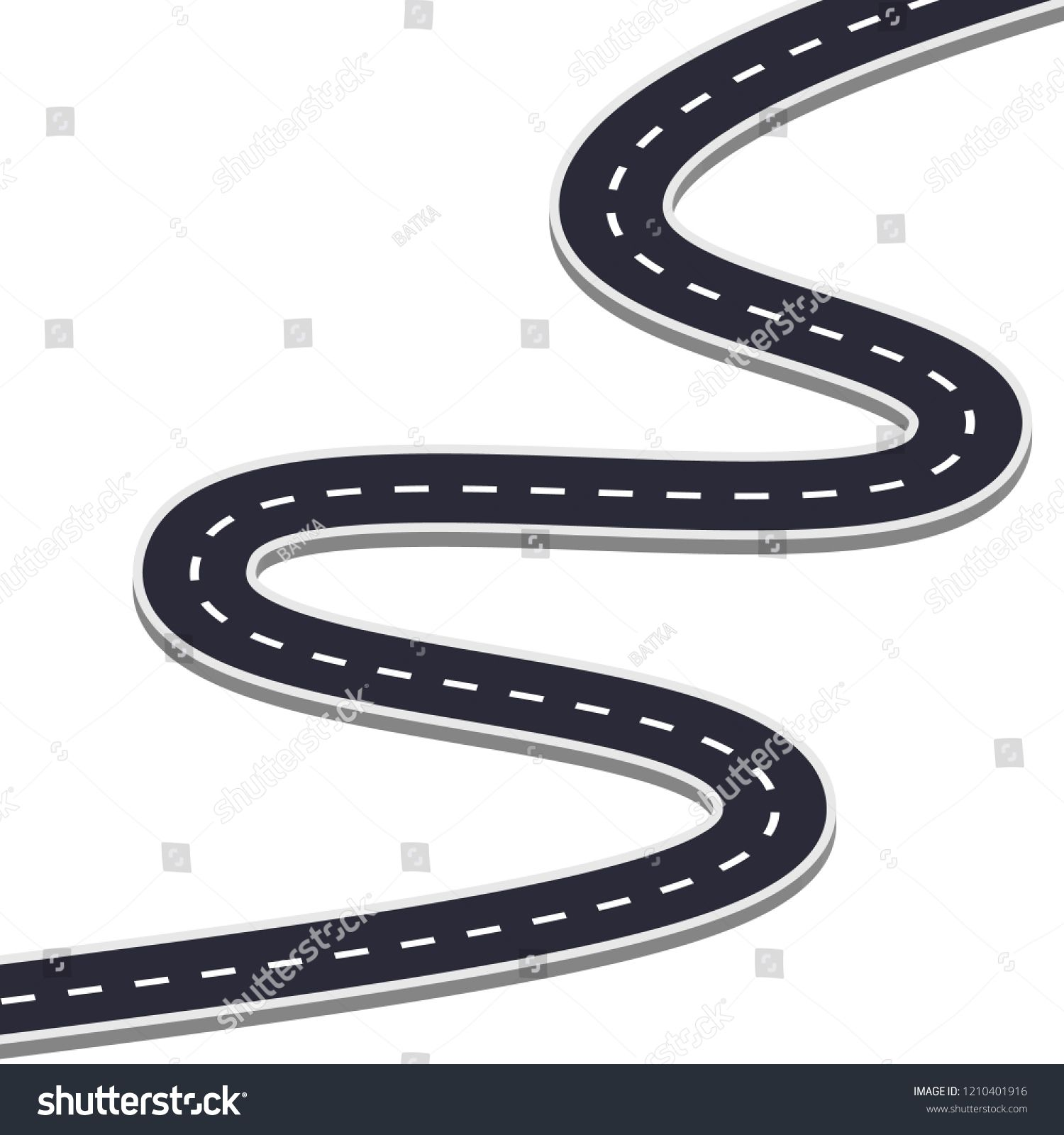 Winding Road On A White Isolated Background Road Way Location Infographic Template With Pin Pointer Vector Eps 10 I Winding Road Infographic Templates Vector