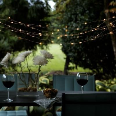 Copper Patio String Lights : Hampton Bay Outdoor Solar Powered 50-Light Integrated LED Copper String Light Set