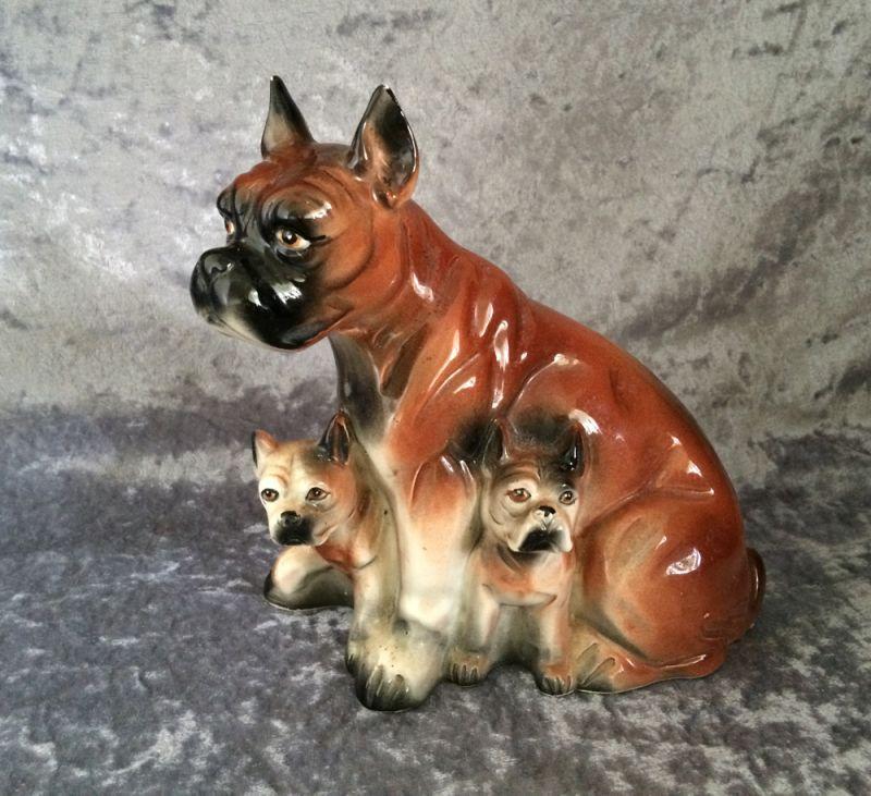 BOXER PUP Figurine  West Germany   Fine Quality Ceramic  Vintage