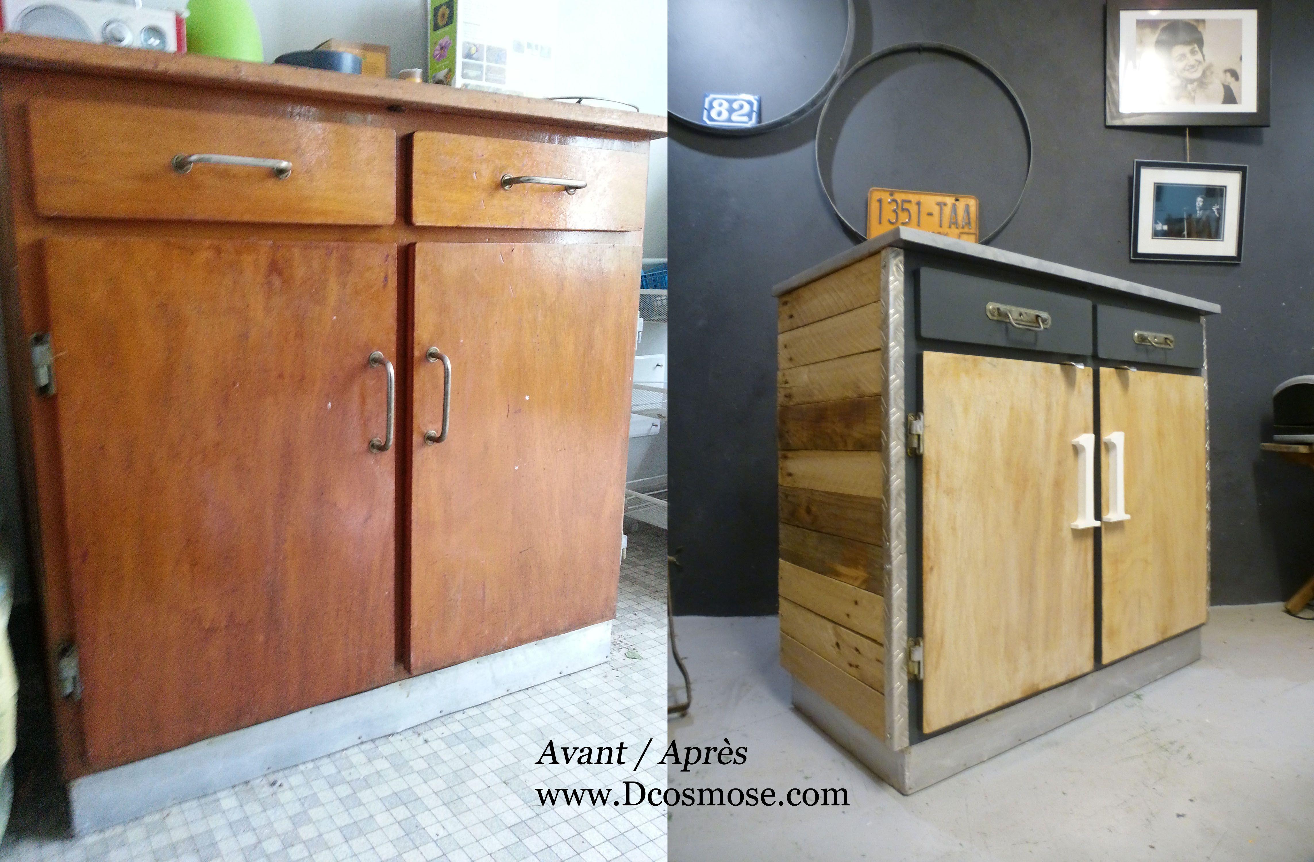 Avant Apr S Meuble Relook Buffet Vintage Relook En Style  # Meuble Palette Style Industriel