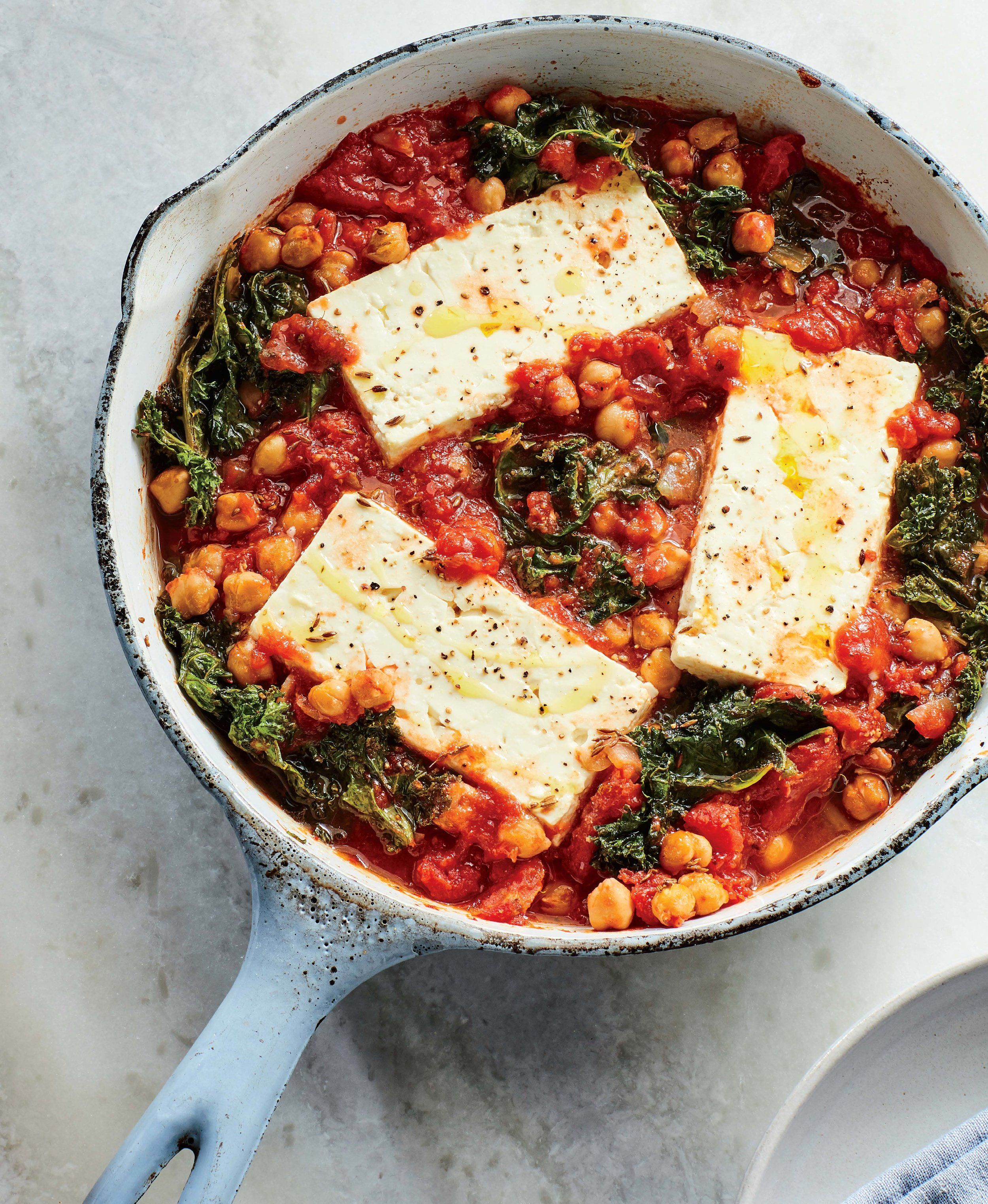 David Tamarkin's Baked Feta with Chickpeas and Greens #foodsides