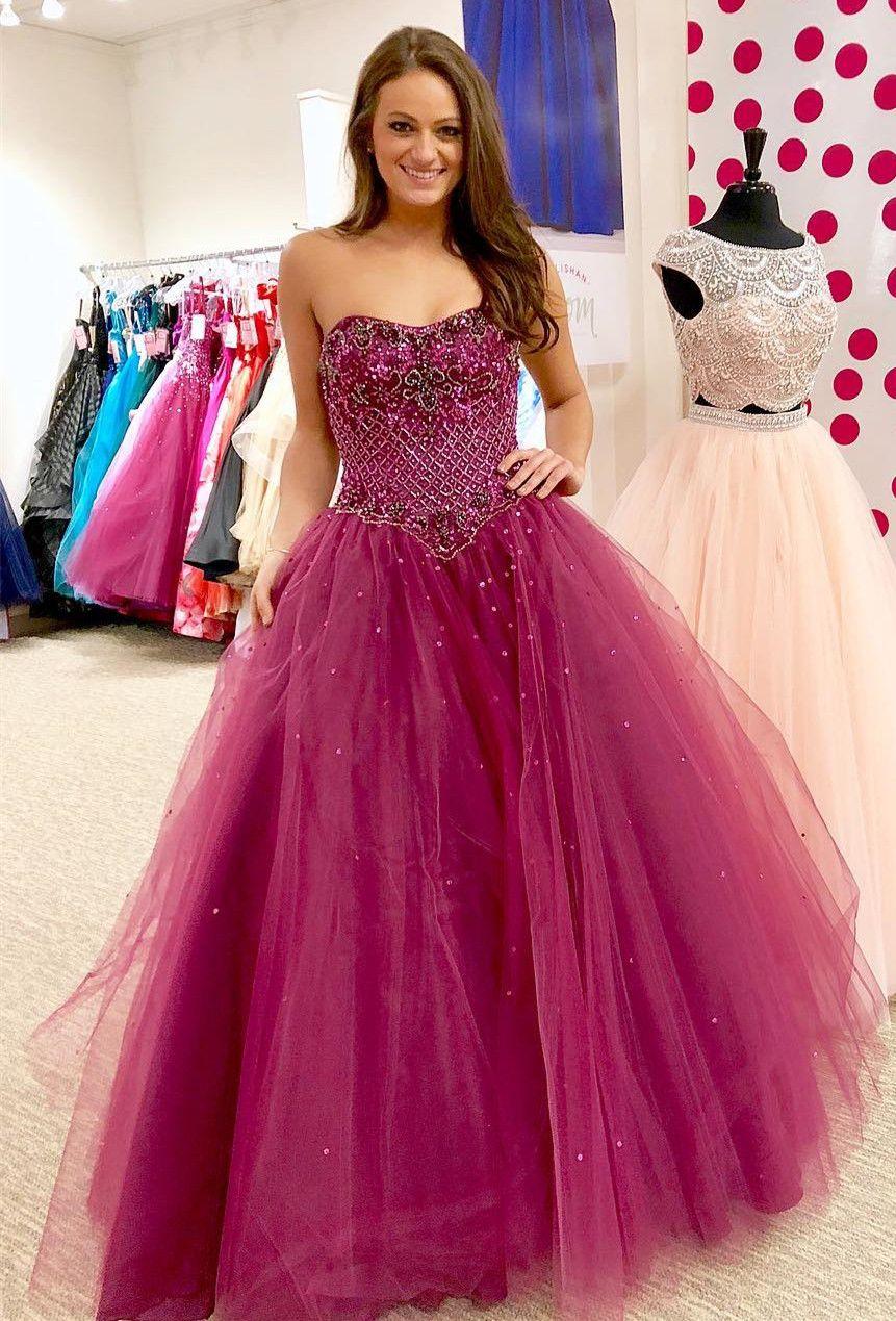sweet 16 dress, ball gown, 21018 strapless fuchsia long prom dress ...