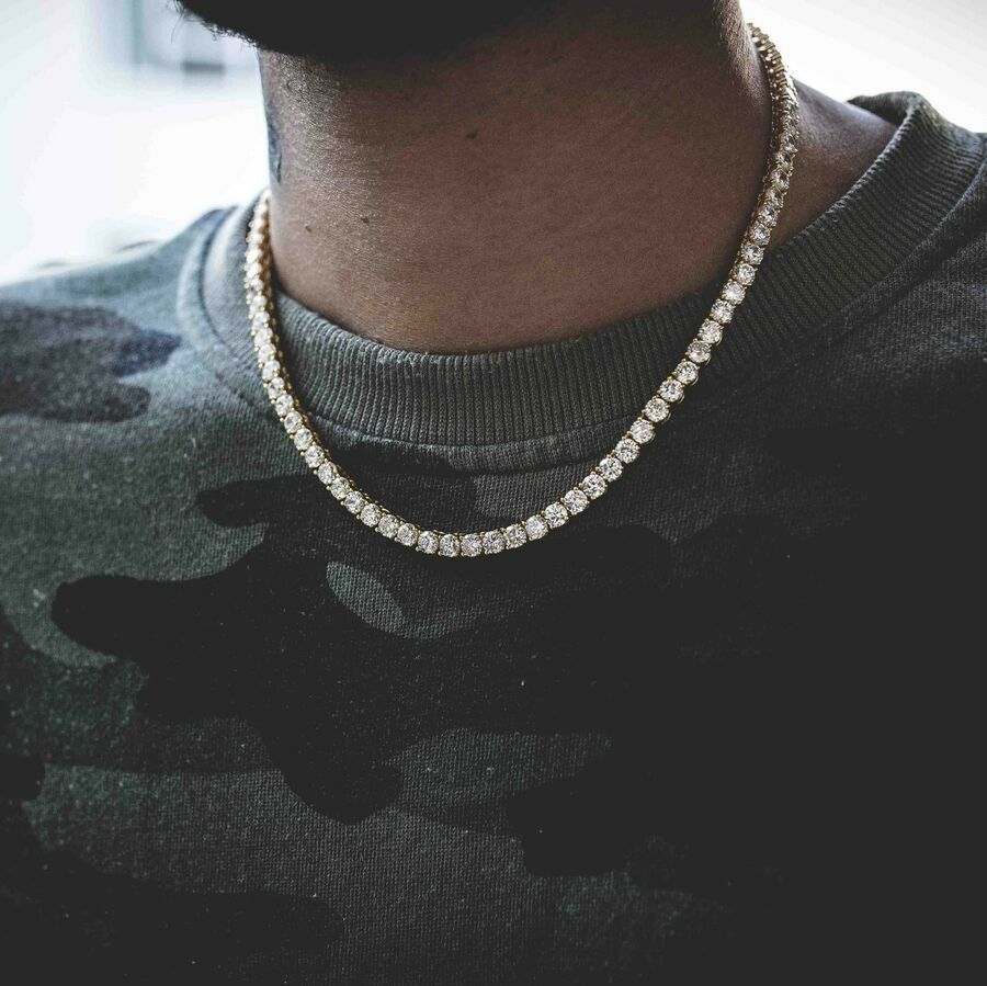 Men Tennis Chain 14k Gold Over Real Solid 925 Silver 16 Choker 30 Diamond Ad Sponsored Gold Real Tennis Necklace Mens Chain Necklace Chains For Men