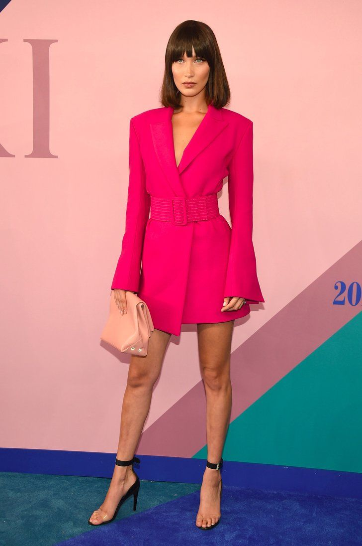 Bella Hadid Walked the CFDA Red Carpet in a Barbie-Pink Minidress ...