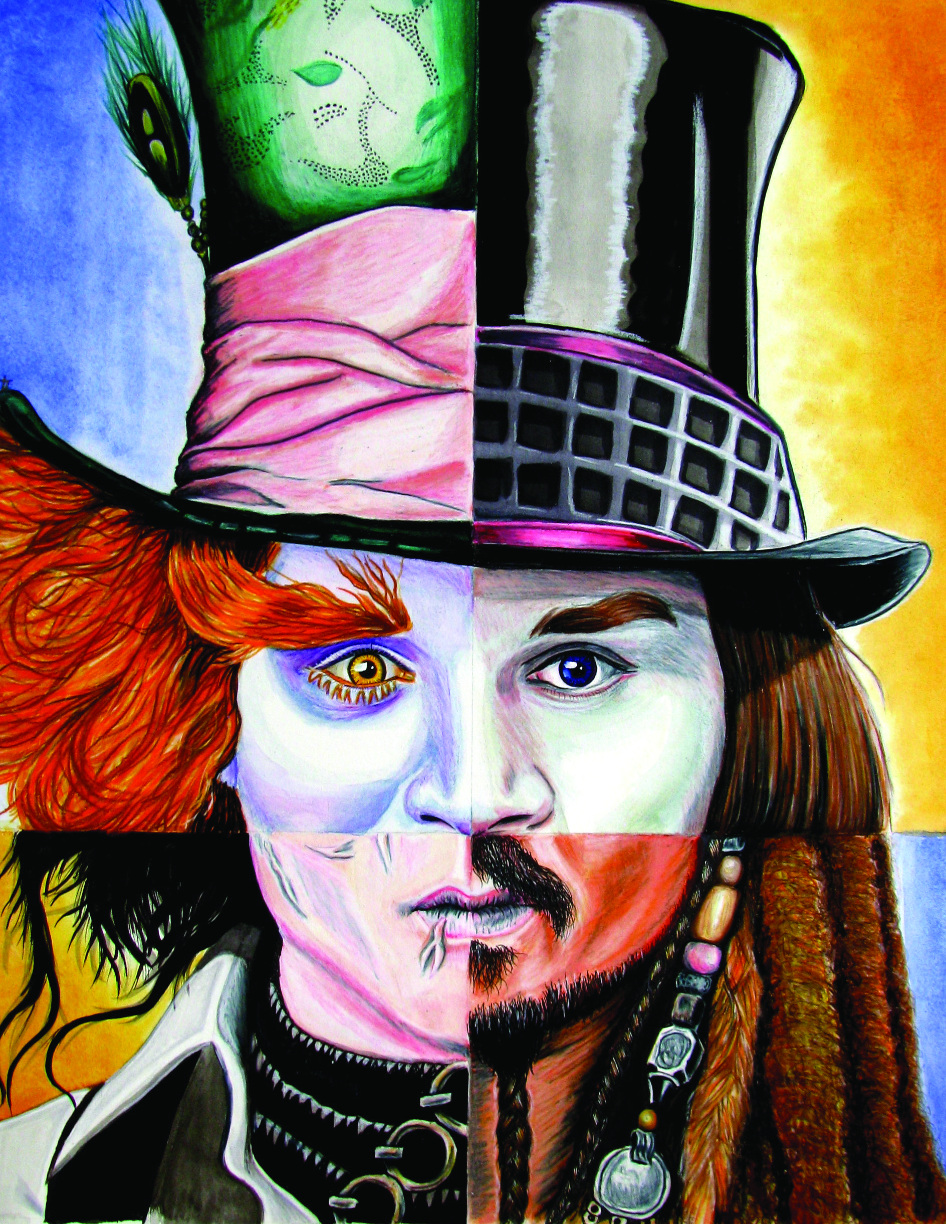 Johnny Depp' Characters Portrait Mixed Media Illustration Board Art