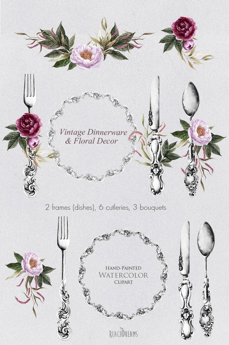 Watercolor Dinnerware & Floral Decor Cutlery Antique