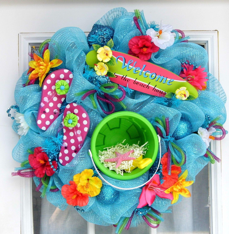 Flip Flop Bathroom Decor Beach Wreath Mesh Wreath Flip Flops Spring Looks Summer Wreath