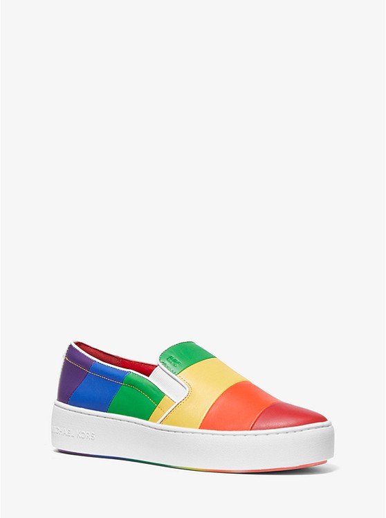 Dylan Rainbow Striped Leather Slip-On