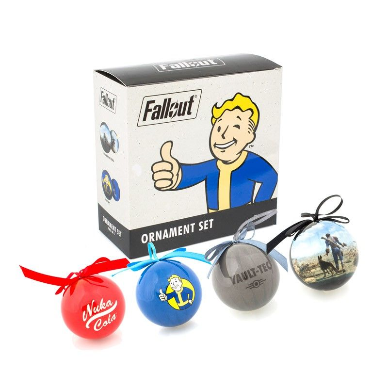 the fallout wanderer ornament set comes with 4 ornaments- nuka