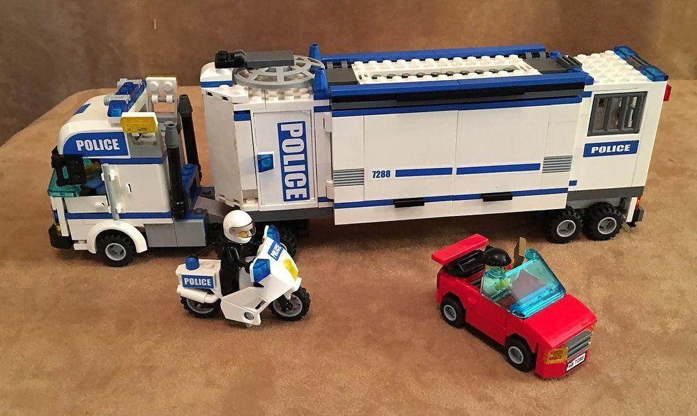 7288 Lego Complete City Police Truck Mobile Unit Prisioner Transport