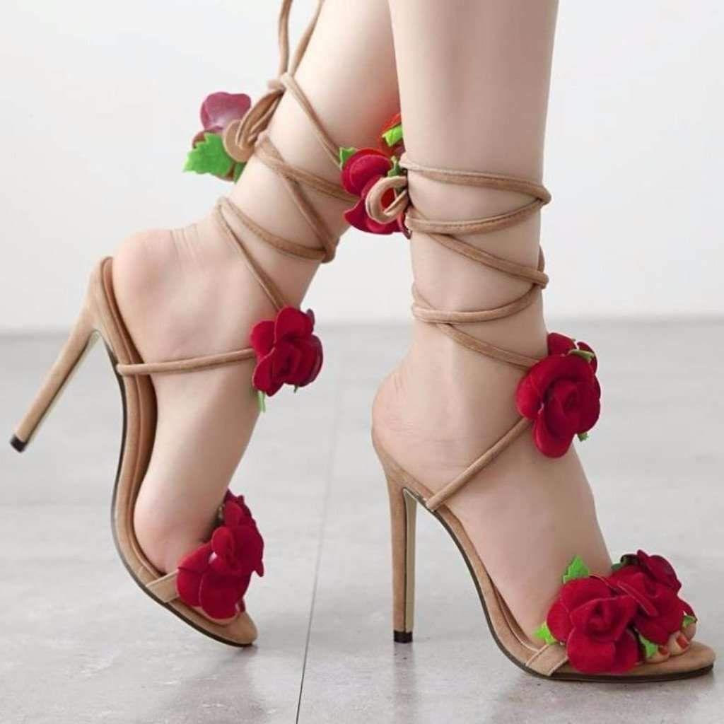 3f6acc5ddf Lovely Red Flower Lace Up Women High Heel Sandal