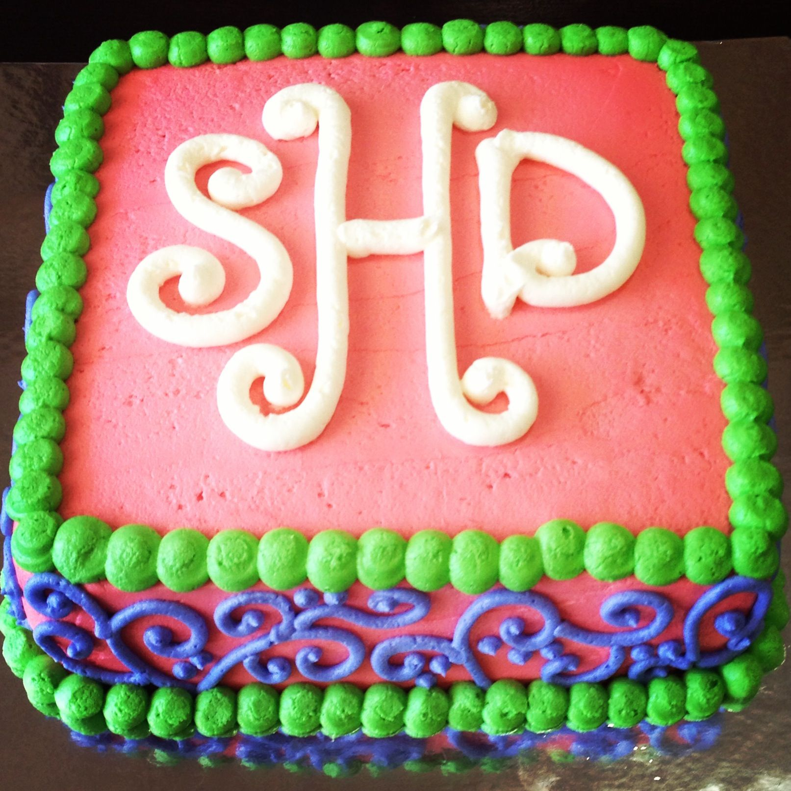 Phenomenal Monogram Birthday Cake Its A Southern Thing Coava Coffeehouse Funny Birthday Cards Online Aboleapandamsfinfo