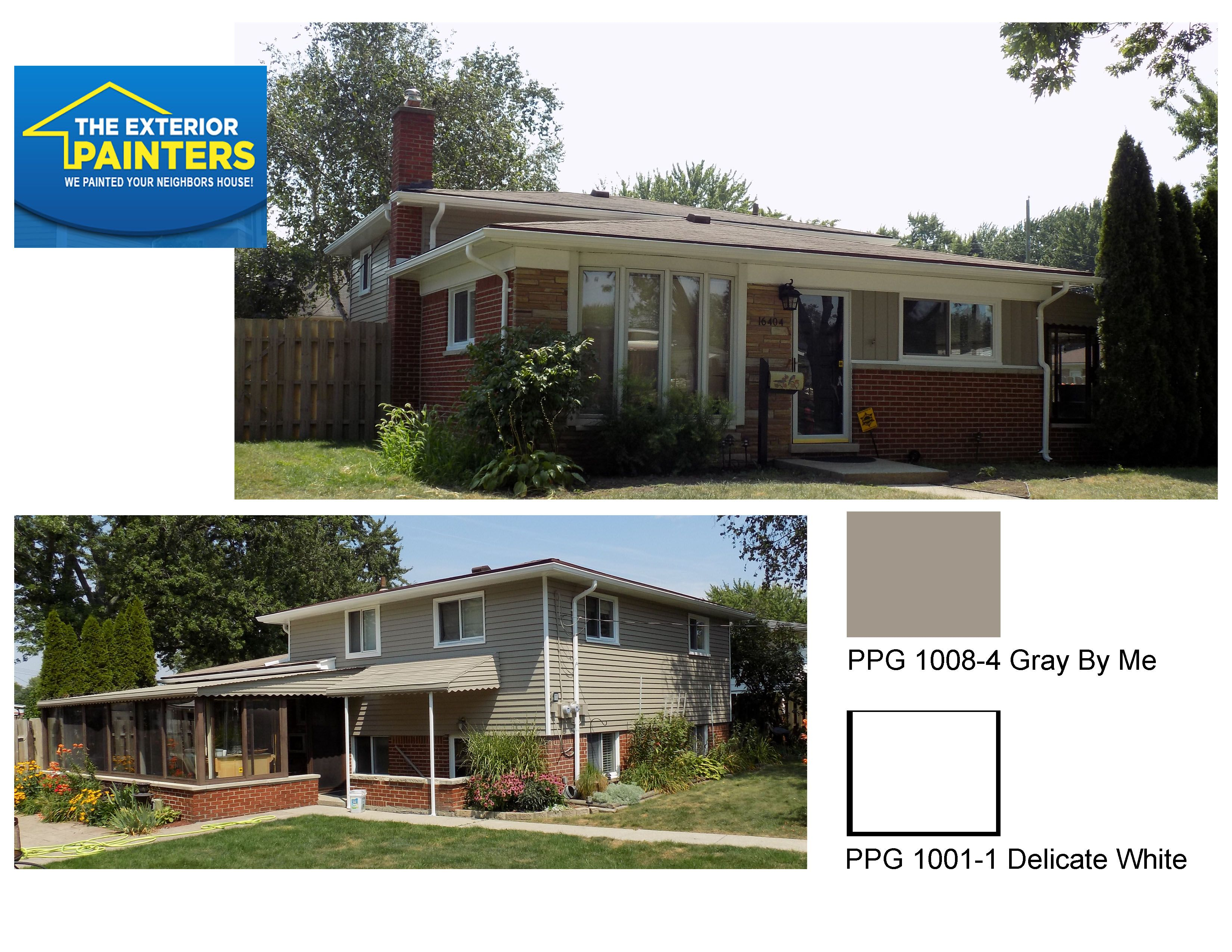 PPG Gray By Me for siding. PPG Delicate White for the trim. PPG Black Magic for the front door.