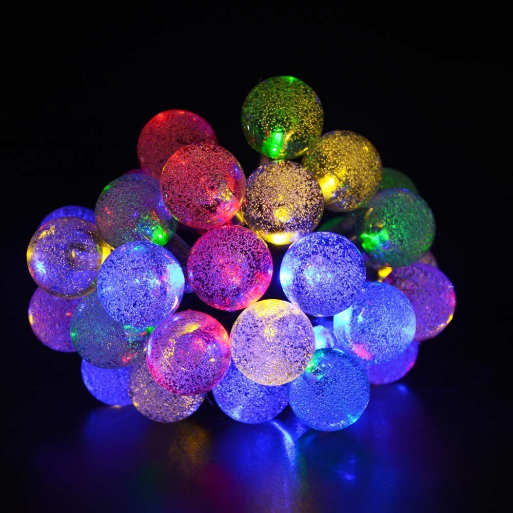 Solar Outdoor String Lights Multi Color Crystal Ball Solar Powered Globe  Fairy Lights For Garden Fence