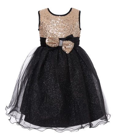 121b53a43185 Look what I found on  zulily! Black   Gold Sequin Glitter Overlay ...