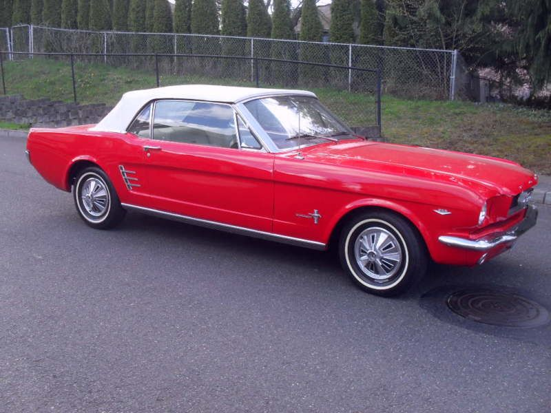1966 FORD MUSTANG CONVERTIBLE 289 V8 AUTOMATIC FIRE ENGINE RED WHITE ...