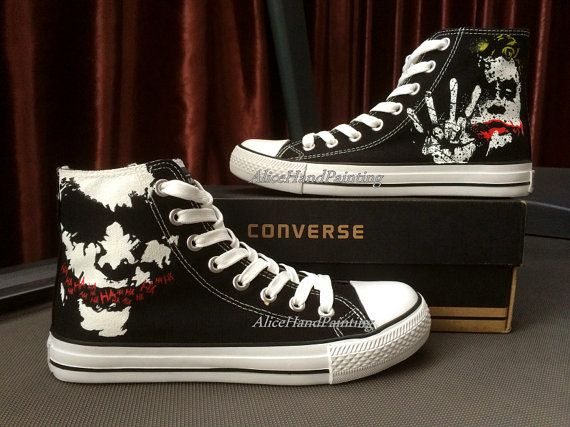 cdd3b0053d2e Joker Black Hand Painted Canvas High Top Shoes for Women Men