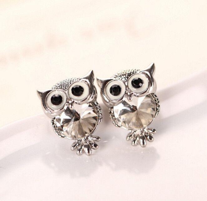 Cute Gold Plated Owl Stud Earrings