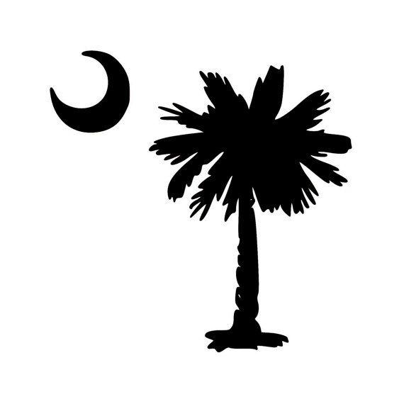 Palmetto Tree With Crescent Moon Vinyl Decal Sticker South Etsy South Carolina Flag Palmetto Tree South Carolina