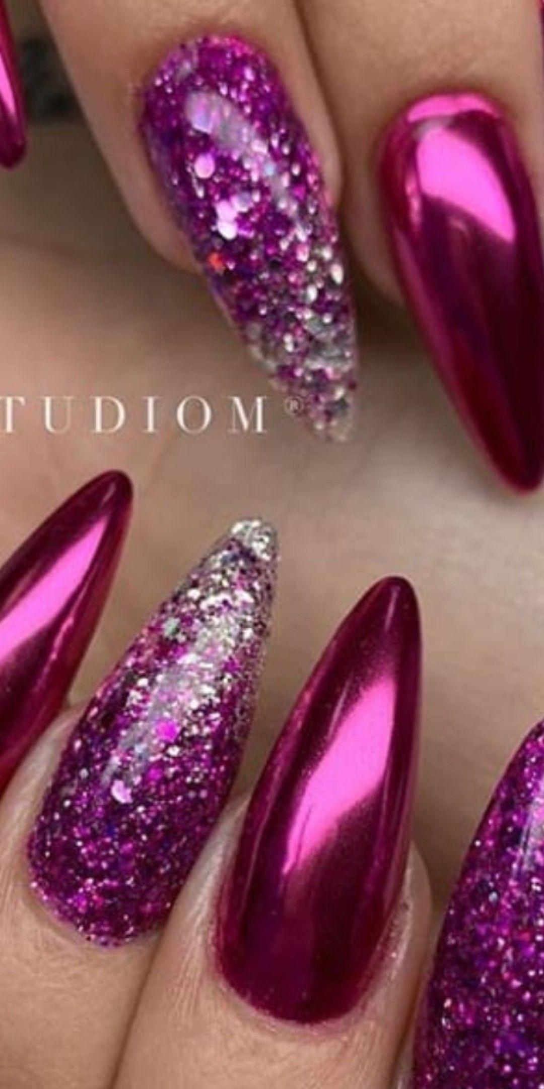 Brilliant Magenta And Glitter Nail Polish Nail Art Purple Glitter Nails Magenta Nails Purple Nails