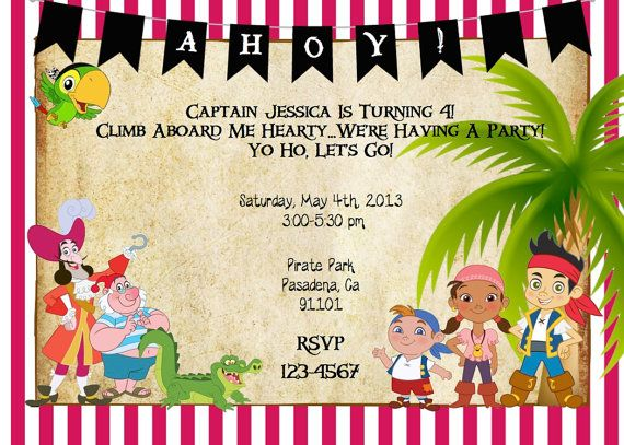Jake+and+the+Neverland+Pirate+Invitation+by+ckfireboots+on+Etsy,+$10.00