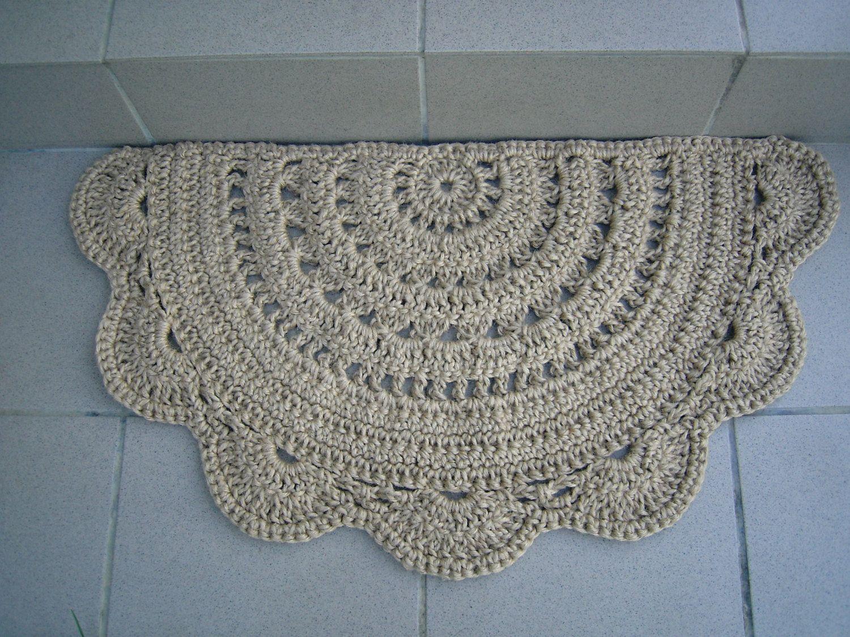 Jute Doormat Half Circle Crochet Doormat Jute Doormat Etsy Crochet Home Rug Pattern Doily Rug