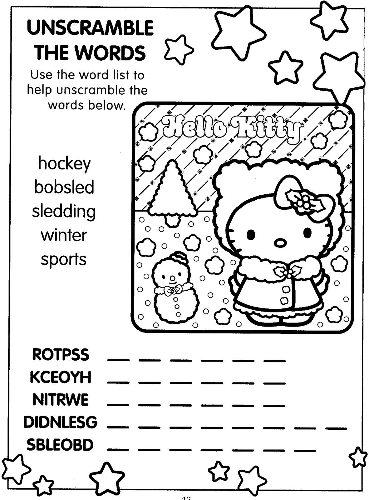 Hello Kitty Xmas Activity Page Word Scramble