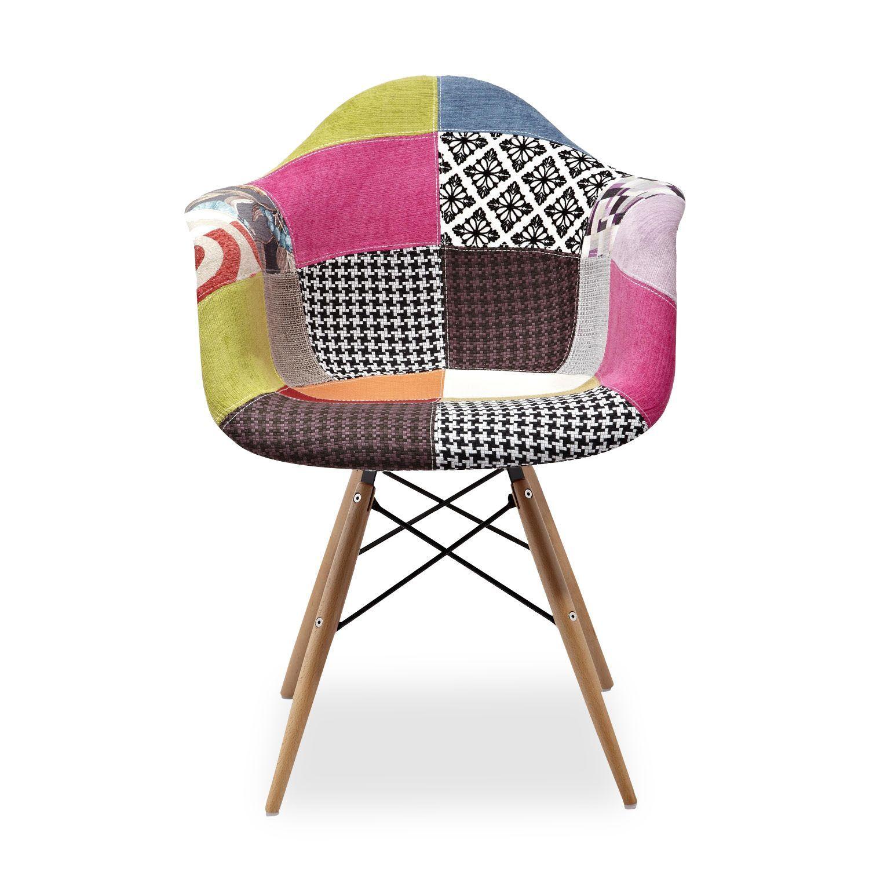 Silla wooden arms tapizado tela patchwork 2 sillas for Sillas de salon de diseno